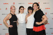 (L-R) Marti Noxon, Shiri Appleby, Constance Zimmer and Sarah Gertrude Shapiro attend the international press event for UnREAL on April 29, 2015 in New York City.