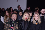 (L-R) Takashi Murakami, Anja Rubik and Holli Rogers attend the International Woolmark Prize 2020 during London Fashion Week February 2020 at Ambika P on February 17, 2020 in London, England.