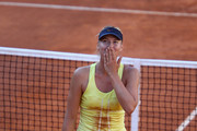 Maria Sharapova of Russia blows a kiss to the crowd after her straight sets victory in her semi final match against Caroline Wozniacki of Denmark during day seven of the Internazoinali BNL D'Italia at the Foro Italico Tennis Centre  on May 14, 2011 in Rome, Italy.