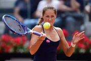 Qualifier Bojana Jovanovski of Serbia in action during her Third Round defeat to Maria Sharapova of Russia on Day Five of The Internazionali BNL d'Italia 2015 at the Foro Italico on May 14, 2015 in Rome, Italy.