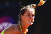 Bojana Jovanovski of Serbia in action during her match against Caroline Garcia of France on Day Three of the The Internazionali BNL d'Italia 2015 at the Foro Italico on May 12, 2015 in Rome, Italy.