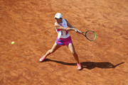 Simona Halep of Romania plays a backhand in her round three match against Dayana Yastremska of Ukraine during day five of the Internazionali BNL d'Italia at Foro Italico on September 18, 2020 in Rome, Italy.