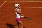 Simona Halep of Romania celebrates in her round three match against Dayana Yastremska of Ukraine during day five of the Internazionali BNL d'Italia at Foro Italico on September 18, 2020 in Rome, Italy.