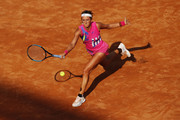 Victoria Azarenka of Belarus stretches to play a forehand in her round one match against Venus Williams of The United States during day three of the Internazionali BNL d'Italia at Foro Italico on September 16, 2020 in Rome, Italy.
