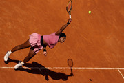 Serena Williams of USA serves on day 5 of the Internazionali BNL d'Italia match between Serena Williams of USA and Nadia Podoroska of Argentina at Foro Italico on May 12, 2021 in Rome, Italy. Sporting stadiums around Italy remain under strict restrictions due to the Coronavirus Pandemic as Government social distancing laws prohibit fans inside venues resulting in games being played behind closed doors.