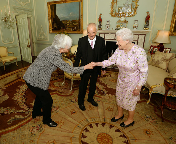 Composer Judith Weir (L), the new Master of the Queen's Music and Sir Peter Maxwell Davies, previous Master of the Queen's Music, during a private audience with Queen Elizabeth II at Buckingham Palace on July 22, 2014 in London, England. Ms Weir, the first woman to hold the post, has composed everything from grand operas to piano concerts said she hoped to encourage everyone involved in music.