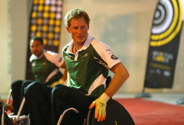 (STRICTLY EMBARGOED FOR PUBLICATION UNTIL 7PM BST) Prince Harry looks on during a training session for the Jaguar Land Rover Exhibition Wheelchair Rugby Match on day 2 of the Invictus Games, presented by Jaguar Land Rover at Queen Elizabeth Olympic Park on September 12, 2014 in London, England.