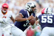 Shawn Robinson #3 of the TCU Horned Frogs scrambles with the ball against the Iowa State Cyclones in the first quarter at Amon G. Carter Stadium on September 29, 2018 in Fort Worth, Texas.