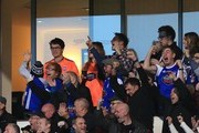 Ipswich Town fan and singer Ed Sheeran celebrates his sides opening goal during the Sky Bet Championship match between Ipswich Town and Sheffield United at Portman Road on December 22, 2018 in Ipswich, England.