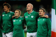 Irish players Donncha O'Callaghan, Keith Earls, Paul O'Connell and Brian O'Driscoll sing their anthem ahead of the IRB Rugby World Cup Pool C match between Ireland and Italy at Dunedin Stadium on October 2, 2011 in Dunedin, New Zealand.