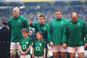 Paul O'Connell, Brian O'Driscoll and  Mike Ross of ireland sing the National Anthem during the RBS Six Nations match between Ireland and Italy at Aviva Stadium on March 8, 2014 in Dublin, Ireland.