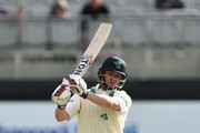 William Porterfield of Ireland plays a delivery during the third day of the test cricket match between Ireland and Pakistan on May 13, 2018 in Malahide, Ireland. The home side were forced to follow on after being bowled out for 130 runs earlier in the day.
