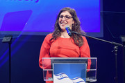 Mayim Bialik speaks onstage during the 70th Anniversary of Israel celebration in Los Angeles on Sunday, June 10, 2018.