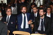 Andrea Pirlo looks on during Italy Team meets President Sergio Mattarella on October 15, 2018 in Rome, Italy.