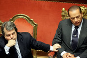 Italian Prime Minister Silvio Berlusconi delivers a speech during a debate at the Senate on December 13, 2010 in Rome, Italy. Berlusconi is facing a vote of no confidence from both the Senate and the Lower House.