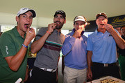 Matteo Manassero of Italy, Alvaro Quiros of Spain, Gonzalo Fernandez Castano of Spain and Fredrik Andersson-Hed of Sweden discover how Lindt chocolates are made after the pro-am prior to the start of the Italian Open golf at Circolo Golf Torino on September 18, 2013 in Turin, Italy.