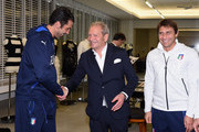 (L-R) Gianluigi Buffon, Ermanno Scervino and Antonio Conte visit Ermanno Scervino Atelier on November 9, 2015 in Florence, Italy.