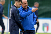 Head coach Italy Gian Piero Ventura (R) and Stephan El Shaarawy chat during the training session at Italy club's training ground at Coverciano on November 9, 2017 in Florence, Italy.
