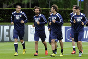 (L-R) Giorgio Chiellini,  Andrea Pirlo, Alberto Gilardino and  Christian Maggio during an Italy training session ahead of their international friendly against San Marino at Coverciano on May 28, 2013 in Florence, Italy.