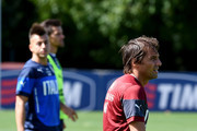 Coach Italy Antonio Conte (R) and Stephan El Shaarawy during an Italy training session at Coverciano on September 1, 2014 in Florence, Italy.