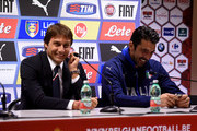 Head coach Italy Antonio Conte (L) and Gianluigi Buffon speak to the media during a press conference at King Baudouin Stadium on November 12, 2015 in Brussels, Belgium.