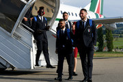 (L-R) Mario Balotelli, Lorenzo Insigne, Gianluigi Donnarumma and Danilo D'Ambrosio of Italy arrive to San Gallo on May 27, 2018 in Florence, Italy.