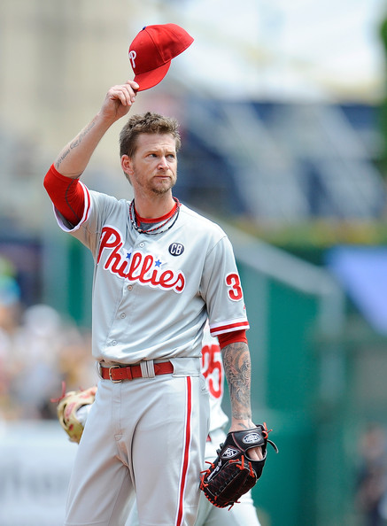 A.J. Burnett A.J. Burnett #34 of the Philadelphia Phillies acknowledges the crowd in his first appearance against the Pittsburgh Pirates during the first inning on July 6, 2014 at PNC Park in Pittsburgh, Pennsylvania.