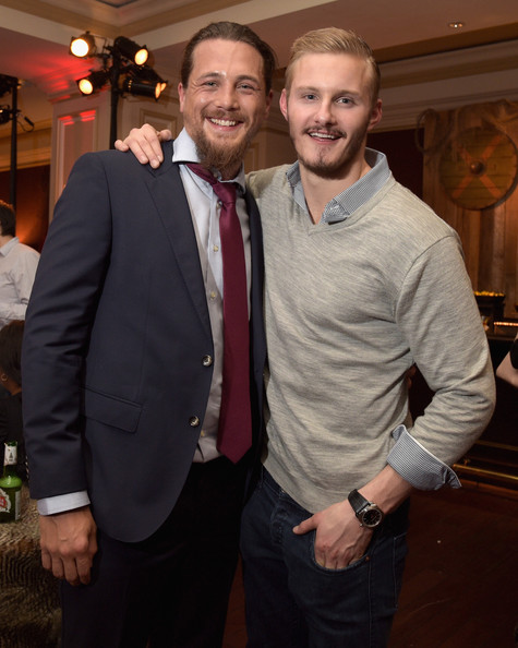Actors Ben Robson (L) and Alexander Ludwig attend the JAN 2015 TCA History Vikings Party on January 9, 2015 in Pasadena, California.