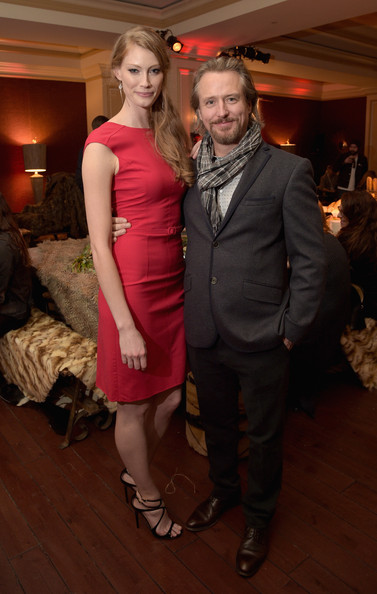 Actors Alyssa Sutherland (L) and Linus Roache attend the JAN 2015 TCA History Vikings Party on January 9, 2015 in Pasadena, California.