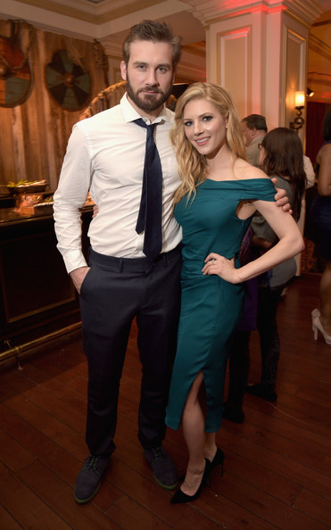 Actors Clive Standen (L) and Katheryn Winnick attend the JAN 2015 TCA History Vikings Party on January 9, 2015 in Pasadena, California.