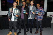 Aston Merrygold, Ortise Williams, Marvin Humes and J.B. Gill of Boyband JLS at signing of their album 'Goodbye' at HMV Oxford Street on November 19, 2013 in London, England.