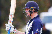 Cameron White of Victoria celebrates a half century during the JLT One Day Cup match between Victoria and Tasmania at Junction Oval on October 10, 2018 in Melbourne, Australia.