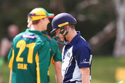 Cameron White of Victoria reacts after being dismissed by Simon Milenko of Tasmania during the JLT One Day Cup match between Victoria and Tasmania at Junction Oval on October 10, 2018 in Melbourne, Australia.