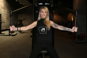 Mirja Du Mont poses during the opening of John Reed Fitness Music Club on April 10, 2017 in Hamburg, Germany.
