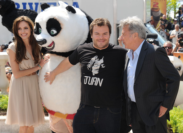 Jack Black Actress Angelina Jolie (L) poses with actors Jack Black and Dustin Hoffman (R) during the 'Kung Fu Panda 2' photocall during the 64th Annual Cannes Film Festival at the Carlton Hotel on May 12, 2011 in Cannes, France.