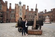 Nicholas Hoult and Eleanor Tomlinson attend a photocall for 'Jack The Giant Slayer' at Hampton Court Palace on February 12, 2013 in London, England.