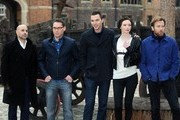 (L-R) Stanley Tucci, Bryan Singer, Nicholas Hoult, Eleanor Tomlinson and Ewan McGregor attend a photocall for 'Jack The Giant Slayer' at Hampton Court Palace on February 12, 2013 in London, England.