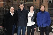 (L-R) Stanley Tucci, Nicholas Hoult, Eleanor Tomlinson and Ewan McGregor attend a photocall for 'Jack The Giant Slayer' at Hampton Court Palace on February 12, 2013 in London, England.