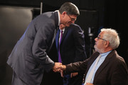 Treasury Secretary Jack Lew (L) thanks former Rep. Barney Frank (D-MA) after delivering the keynote address during an event marking the fifth anniversary of the Dodd-Frank Wall Street reform law at the Newseum July 20, 2015 in Washington, DC. Hosted by Better Markets, a self-described nonpartisan, independent and nonprofit organization that promotes the public interest in the capital and commodity markets.