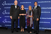 (L-R) The Jackie Robinson Foundation's Honorary Chairman of the Board, Leonard S. Coleman, Jr., President and CEO, Della Britton Baeza, Founder, Rachel Robinson, and Chairman of the Board of Directors, Gergg Gonsalves, attend the Jackie Robinson Foundation Mentoring & Leadership Conference dinner at the Marriot Marquis Hotel on March 7, 2016 in New York City.