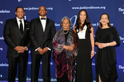 (L-R) The Jackie Robinson Foundation's Chairman of the Board of Directors, Gergg Gonsalves, Alum, Christopher Dean, Founder, Rachel Robinson, Jade Dean and President and CEO, Della Britton Baeza, attend the Jackie Robinson Foundation Mentoring & Leadership Conference dinner at the Marriot Marquis Hotel on March 7, 2016 in New York City.
