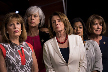 Jackie Speier Democratic House Leader Nancy Pelosi and House Democrats Hold News Conference on President's Controversial Tweets at MSNBC's TV Anchors