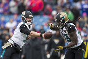 Blake Bortles #5 hands the ball to Chris Ivory #33 of the Jacksonville Jaguars during the first quarter against the Buffalo Bills on November 27, 2016 at New Era Field in Orchard Park, New York.
