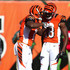 A.j. Green Mohamed Sanu Photos - Mohamed Sanu #12 of the Cincinnati Bengals is congratulated by A.J. Green #18 of the Cincinnati Bengals after scoring a touchdown during the second quarter of the game against the Jacksonville Jaguars at Paul Brown Stadium on November 2, 2014 in Cincinnati, Ohio. - Jacksonville Jaguars v Cincinnati Bengals