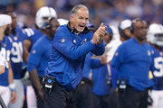 Head coach Chuck Pagano of the Indianapolis Colts reacts from the sideline against the Jacksonville Jaguars during the first half at Lucas Oil Stadium on October 22, 2017 in Indianapolis, Indiana.