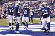 Dwayne Allen #83 of the Indianapolis Colts celebrates a touchdown during the second half of a game against the Jacksonville Jaguars at Lucas Oil Stadium on January 1, 2017 in Indianapolis, Indiana.