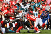 Running back Chris Ivory #33 of the Jacksonville Jaguars is tackled by cornerback Marcus Peters #22 of the Kansas City Chiefs at Arrowhead Stadium during the second quarter of the  game on November 6, 2016 in Kansas City, Missouri.