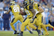 Chris Ivory #33 of the Jacksonville Jaguars runs with the ball during the first quarter of the game against the Tennessee Titans at Nissan Stadium on October 27, 2016 in Nashville, Tennessee.
