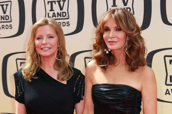 8th Annual TV Land Awards - Arrivals [hair,blond,shoulder,hairstyle,premiere,little black dress,dress,carpet,red carpet,event,arrivals,actresses,cheryl ladd,jaclyn smith,tv land awards,culver city,california,l,sony studios]