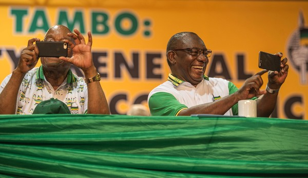 South Africa's Struggling ANC Elects Ramaphosa As New Head [green,adaptation,event,spokesperson,cyril ramaphosa,jacob zuma,president,media representatives,head,south african,s.africa,anc,organisation,race]